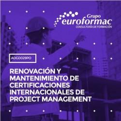 ADGD029PO - RENOVACIÓN Y MANTENIMIENTO DE CERTIFICACIONES INTERNACIONALES DE PROJECT MANAGEMENT--ONLINE  150 horas